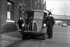 This photograph of an officer of Manchester City Police and his Morris J -Type van dates from the late 1950s. The image was taken on Manchester's Oldham Road – just a few hundred yards from the site of the current Greater Manchester Police HQ in Newton Heath. The image comes from the collection of the Greater Manchester Police Museum and Archives. www.gmpmuseum.co.uk