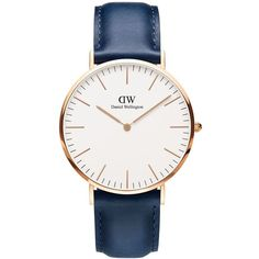 Daniel Wellington Women's Classic Somerset Rose Gold and Leather Strap... ($229) ❤ liked on Polyvore featuring jewelry, watches, navy blue, analog watches, red gold watches, daniel wellington watches, dial watches and analog wrist watch