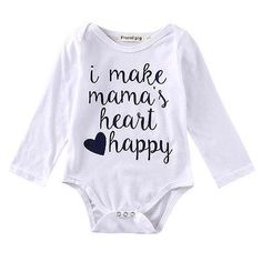 fad3f6c97a661 Newborn Baby Boys Girl Long Sleeve Romper Cotton Outfits baby White letter  Clothes Kids Boys Girls Rompers For