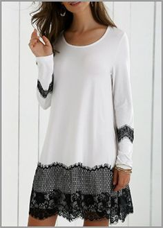 Long Sleeve Lace Splicing Comfy Dress - White And Black Xl Mobile Comfy Dresses, Cute Dresses, Dresses With Sleeves, Long Sleeve Dresses, Dress Casual, Formal Dresses, Pretty Outfits, Beautiful Outfits, Cool Outfits