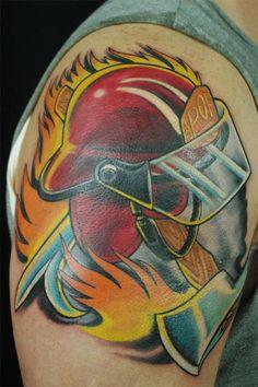 Firefighter Helmet Tattoo (shoulder) | Shared by LION