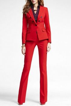 Red 2 piece set women business suits blazer with pants ladies office uniform formal pant suits for weddings tuxedo CUSTOM Formal Pant Suits, Suits For Women, Clothes For Women, Classic Suit, Red Suit, Costume, Blake Lively, Business Outfits, Office Fashion
