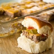 Favorite party food! Easy sliders for a crowd: Another great idea!!  make a meatloaf mix, spread into a 9x13 pan so its thin. top w cheese, bake. cut into squares like a brownie and serve them at big parties. Sliders for a crowd in seriously a fraction of the time!! Brilliant!!! Recipe  full instructions on the blog.