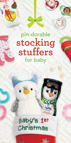 Pin-dorable Stocking Stuffers for Baby - Wondering what to put into baby's Christmas stocking? Here are some simple ideas to turn it into something really special. First, fill it with little things like a holiday bib, bottle or sip cup. Then, add a stuffed toy and a healthy snack or two. No need to wrap, so your little one can get to the holiday surprises inside. Finally, hang it with care and wait for Santa to visit! #BRUChristmas