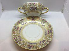Beautiful Antique BERNARDAUD LIMOGES D & C France Bouillon Cup & Saucer #Trio