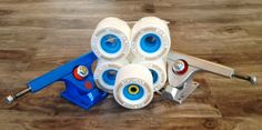 """This weeks Real Deal gear package: Volante Morgan Pro Wheels Caliber 10"""" 50 degree trucks Abec 7 bearings  $95 + tx"""