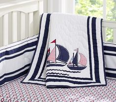 Landon's nursery bedding... LOVE all things nautical for him. Harper Boats Nursery Bedding #pbkids