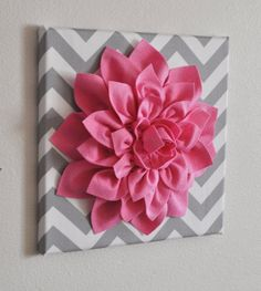 Pink Wall Flower Bright Pink Dahlia on Gray and White