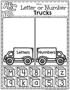 Preschool Transportation Worksheets - Letter or Number Sort Kindergarten Learning, Preschool Curriculum, Preschool Printables, Preschool Classroom, Kindergarten Worksheets, Preschool Activities, Preschool Prep, Alphabet Worksheets, Homeschooling