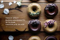 Vegan Spelt Baked Doughnuts with Raw Chocolate Glaze