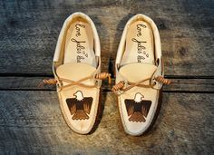 Handcrafted Leather Boat Shoes - Navajo inspired Eagle