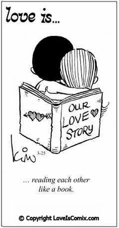 Love is... reading each other like a book.