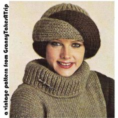 I don't usually post vintage patterns but I love this hat! 1970s/80s Vintage Knitting Pattern-TURBAN STYLE HAT & Boyfriend Fit Sweater, Chunky/Bulky, Instant Download Pdf on Etsy | Turban Hat Knitting Patterns at http://intheloopknitting.com/turban-hat-knitting-patterns/