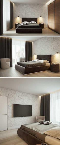 chambre adulte moderne design minimaliste cloison ajourée bois appartement luxe Moscou #interiordesign