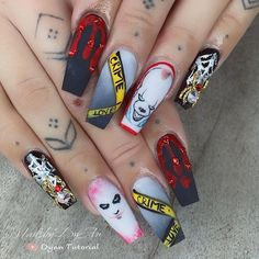"Nailsbydyan's Instagram profile post: ""Crime & love 💕 . Happy Halloween 👻 . . #halloweennails"""