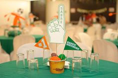 Foam finger tablescape