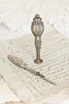 WINTERBERRY — Silver Antique Writing Tools…