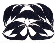 Raven Shapes II by Kenojuak Ashevak, Inuit artist (G20303)