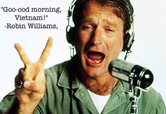 Robin Williams: A Life In Pictures - Good Morning, Vietnam, Robin Williams Movies, Robin Williams Quotes, I Movie, Movie Stars, Madame Doubtfire, Captain My Captain, Photo Vintage, Good Will Hunting, Man Humor