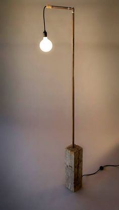 Lamp 6foot 7 - rough hewn . tree piece . copper . wire + bulb - beautiful handcrafted furniture / houseware & lighting made in the USA
