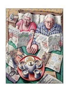 Sunday Morning Tea (Reading in Bed) Giclee Print at AllPosters by P. Vieux Couples, Old Couples, Elderly Couples, Sunday Readings, Growing Old Together, The Golden Years, Image Digital, Reading In Bed, Pics Art