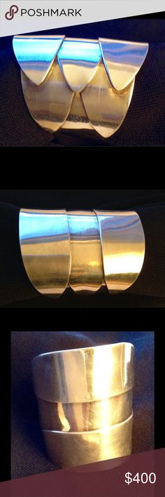 A Vahan silver bracelet Modernist sterling silver cuff bracelet vintage Avahan signed 3in. Widest point. Jewelry Bracelets