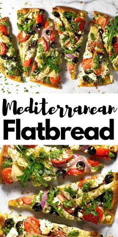 This Mediterranean Flatbread pizza is the perfect quick and easy vegetarian dinner for a busy weeknight! My 5 Minute Fla Easy Flatbread Recipes, Flatbread Pizza, Easy Mediterranean Diet Recipes, Mediterranean Dishes, Greek Recipes, Italian Recipes, Easy Healthy Dinners, Healthy Recipes, Easy Vegetarian Dinner