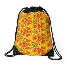 """""""Texture yellow """"Abstract geometry"""" """" Drawstring Bags by floraaplus 