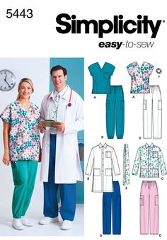 "women's & men's plus size scrub top, jackets, pants, tie and 		 		 hairband<br/><br/><img src=""skins/skin_1/images/icon-printer.gif"" alt=""printable pattern"" /> <a href=""#"" 		 		 onclick=""toggle_visibility('foo');"">printable pattern terms of sale</a><div id=""foo"" 		 		 style=""display:none;"">digital patterns are tiled and labeled so you can print and assemble in the comfort of your home. plus, 		 		 digital patterns incur no shipping costs! upon purchasing a digital pattern, you will receive…"