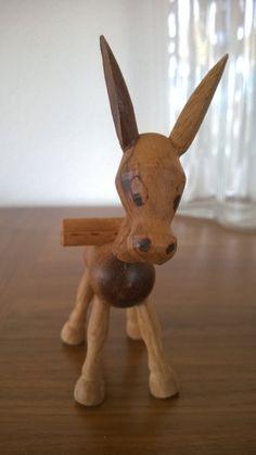 Whimsical Wood Donkey Figurine by Phoebesatticseattle on Etsy