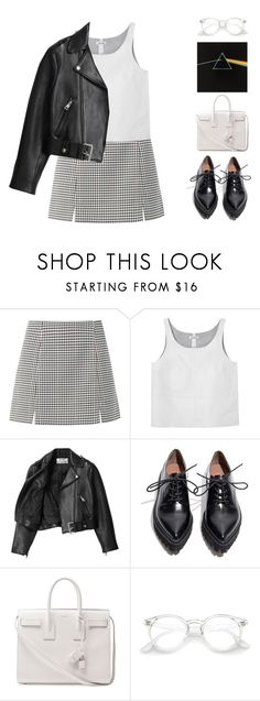 """the great gig in the sky"" by moonlightbaeex ❤ liked on Polyvore featuring Monki, Acne Studios, Jeffrey Campbell, Yves Saint Laurent, leatherjacket, pinkfloyd and topset"