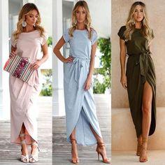 7184675c66 Women Dresses Boho Long Maxi Dress Evening Party Beach Dresses Sundres –  geekbuyig Summer Wear,