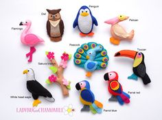 WWW.LADYBUGONCHAMOMILE.COM  Beatiful Felt Magnet Birds collection! 10 nice miniature felt refrigerator magnets for kids. Made from colorful