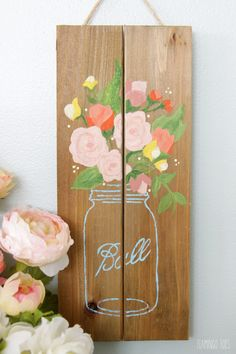 Simple Mason Jar Pallet Sign