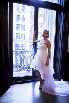 Melissa Gentile Fall 2015 couture bridal collection style # St-Tropez. silk wedding dress. silk organza bridal gown. couture bridal gown. high-low wedding dress. high-low dress. short and long dress. silk layered dress.   www.melissagentile.com