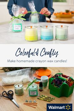 Learn how to make homemade scented soy wax ombre-layered candles in the microwave using crayons (for tint), essential oils (for scent), recycled jars & wood wicks. Wood Wick Candles, Beeswax Candles, Candle Wax, Soy Candles, Scented Candles, Homemade Crayons, Diy Crayons, Diy Candles Using Crayons, Diy Candles Step By Step