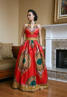 African Print Halter Top Maxi Dress                              …