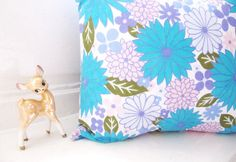 Amazing Vintage Cushion - Reworked Vintage Fabric Pillow - 1960s Floral Daisy Pillow - White Blue Purple Pink and Green Flower Print Cushion