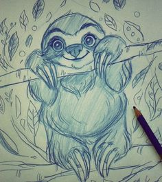 quick  sloth doodle x) #morningdoodle #sloth  #sketch  #sketchbook #artwork…