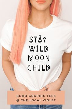 Our stay wild shirt is great for your next music festival or hanging out with friends. For a hippie look, wear it with a kimono, denim shorts, a braid. These unisex shirts are made of a high quality cotton and polyester blend, have a crew neck, and short sleeves.  These shirts have a unisex fit.   #hippietops #hippiegraphictees #bohographictees #hippiestyle #bohostyle Festival T Shirts, Festival Tops, Festival Outfits, Festival Fashion, Hippie Look, Hippie Style, Hippie T Shirts, Stay Wild Moon Child, Moon Shirt