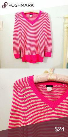 J Crew Hot Pink Striped Sweater Knit sweater from J Crew-- SO adorable!!! No defects. I will consider all offers and discount bundles 25%❤️ J. Crew Sweaters Crew & Scoop Necks