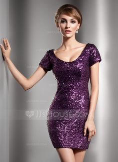 Sheath/Column Scoop Neck Short/Mini Sequined Cocktail Dress (016006687) - JJsHouse