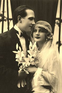 A stunning picture of a bride and groom from 1926