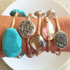 Turquoise, druzy, & iridescent bangles