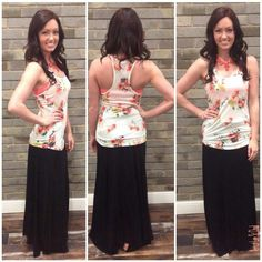 Ring Around A Rosie #RAR4253 This floral print tank top is the perfect focal piece of your spring and summer outfit or as a pop of color under a cardigan this fall and winter. Floral Tank Top: $24 Bandeau: $10 Black Maxi Skirt: $32 Necklace: $30 Sandals: $45 To add this beautiful floral tank and fun outfit to your closet, fill out this form at http://form.jotform.us/form/42265697798173. For immediate assistance call us at 320-774-1533! We ship nationwide! Don't forget to follow us on…