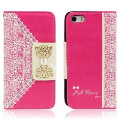 Trendy leren iPhone hoesjes - #leather case for iphone 5s | Hot Pink Cute Flip Wallet Leather Case Cover for iPhone 5S 5 5th - http://www.ledereniphonehoesjes.nl/slimme-iphone-6-hoesjes/