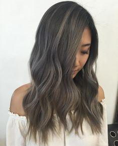 Ash hair, asian hair grey, grey brown hair, hair color for asian skin Hair Color Asian, Hair Color And Cut, Cool Hair Color, Hair Colors, Ash Tone Hair, Ash Hair, Grey Brown Hair, Ombre Brown, Grey Ombre