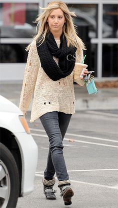 #AshleyTisdale keeps warm in a #NastyGal Holey Dolman Knit and thick scarf while on a Starbucks run on Thursday afternoon (November 29) in Studio City, Calif.