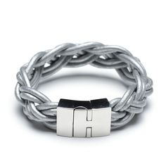 silver braided leather bracelet, 00491