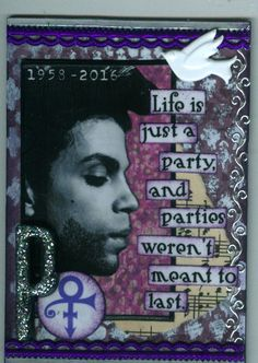 Used for a Tribute To Prince ATC swap.  May 2016.